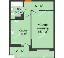 1 комнатная квартира 35,6 м², ЖК Акварели-3 - планировка