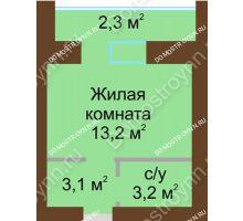 Студия 24,1 м² в ЖК Рубин, дом № 67 - планировка