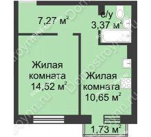 1 комнатная квартира 36,33 м² в ЖК Солнечный, дом д. 161 А/1 - планировка