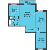 3 комнатная квартира 75,08 м² в ЖК Плодово-Ягодный, дом № 1 - планировка
