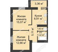 2 комнатная квартира 49,75 м² - ЖК Буревестник