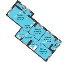 3 комнатная квартира 80,94 м² в ЖК Дом на Набережной, дом № 1 - планировка