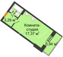 Студия 25,66 м² в ЖК Мандарин, дом 2 позиция 9,10 секция - планировка