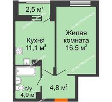 1 комнатная квартира 38,55 м² в ЖК Октава, дом №7 - планировка