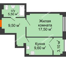 1 комнатная квартира 44,5 м², ЖК Гагарин - планировка