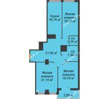 3 комнатная квартира 106,5 м² в ЖК Пять звёзд, дом Секция 4/2 - планировка