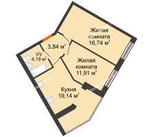 2 комнатная квартира 55,28 м² в ЖК Бунина парк, дом 3 этап, блок-секция 3 С - планировка