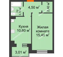 2 комнатная квартира 37,6 м² в Микрорайон Прибрежный, дом № 8 - планировка
