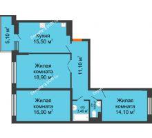 3 комнатная квартира 84,1 м² в ЖК Династия, дом Литер 2 - планировка