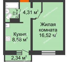1 комнатная квартира 33,05 м² в ЖК Корабли, дом № 9-1