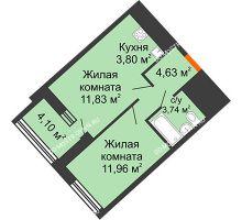 1 комнатная квартира 38,01 м² в ЖК Дом на Набережной, дом № 1 - планировка