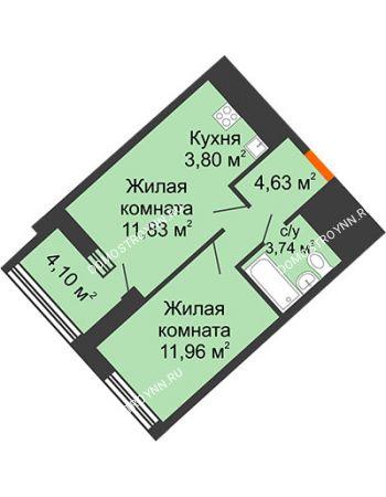 1 комнатная квартира 38,01 м² в ЖК Дом на Набережной, дом № 1