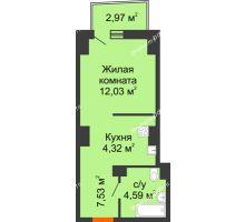 Студия 28,94 м² в ЖК Город у реки, дом Литер 7 - планировка