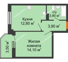 1 комнатная квартира 38,2 м² в ЖК Три Сквера (3 Сквера), дом № 31 - планировка