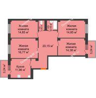 4 комнатная квартира 99,87 м² в ЖК Ясный, дом № 10 - планировка