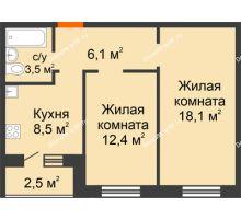 2 комнатная квартира 49,9 м² в Квартал Детский мир, дом № 2 - планировка