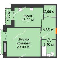 1 комнатная квартира 51,75 м², Жилой дом: г. Дзержинск, ул. Кирова, д.12 - планировка