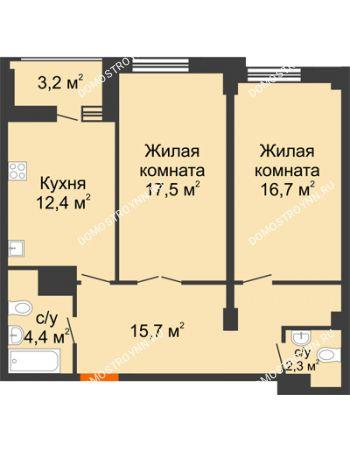 2 комнатная квартира 70,6 м² в ЖК Квартет, дом № 3