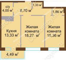 2 комнатная квартира 65,1 м² в ЖК Дворянский, дом № 1 - планировка
