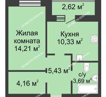 1 комнатная квартира 39,13 м² в ЖК Парк Горького, дом 62/3, № 5 - планировка