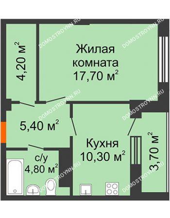 1 комнатная квартира 44,25 м² в ЖК Облака, дом № 2