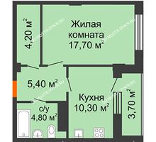 1 комнатная квартира 44,25 м² в ЖК Облака, дом № 2 - планировка