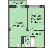 1 комнатная квартира 42,96 м² - ЖК Зеленый берег Life