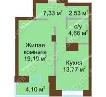 1 комнатная квартира 51,57 м² - ЖК Подкова Приокская