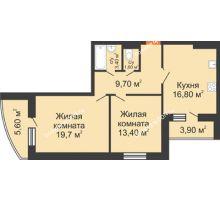 2 комнатная квартира 69,4 м² в ЖК Вересаево, дом Литер 7/2 - планировка
