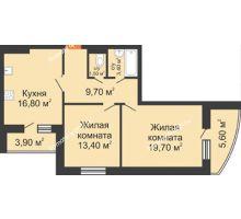 2 комнатная квартира 69,3 м² в ЖК Вересаево, дом Литер 9/2 - планировка