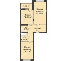2 комнатная квартира 72,01 м² в ЖК Планетарий, дом № 6 - планировка