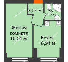 1 комнатная квартира 33,69 м² - ЖК Янтарный