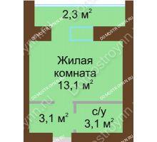 Студия 23,9 м² в ЖК Рубин, дом № 67 - планировка