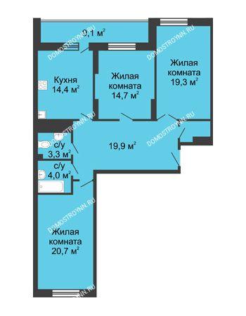 3 комнатная квартира 107,8 м² в ЖК Монолит, дом № 89, корп. 3