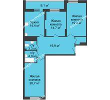 3 комнатная квартира 107,8 м² в ЖК Монолит, дом № 89, корп. 3 - планировка