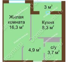1 комнатная квартира 34,7 м² в ЖК ЮГ, дом № 15