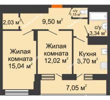 2 комнатная квартира 55,31 м² в ЖК Встреча, дом № 1 - планировка