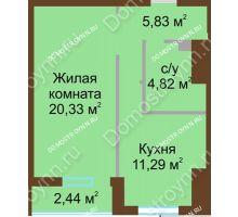 1 комнатная квартира 43,49 м² в ЖК Солнечный, дом № 4