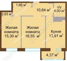 2 комнатная квартира 66,9 м² в ЖК Дворянский, дом № 1 - планировка