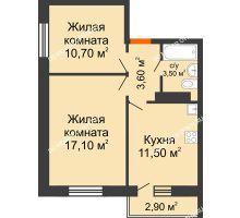 2 комнатная квартира 46,4 м² в ЖК Торпедо, дом № 1