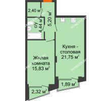 1 комнатная квартира 50,89 м², Клубный дом на Ярославской - планировка