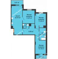 3 комнатная квартира 86,48 м² в ЖК Карамель, дом № 1 - планировка