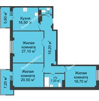 3 комнатная квартира 115,1 м², ЖК Нахичевань - планировка