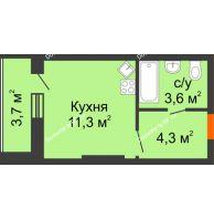 Студия 22,9 м², ЖК Космолет - планировка