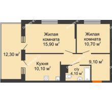 2 комнатная квартира 56,1 м² в ЖК Дружный, дом Литер 2.3 - планировка