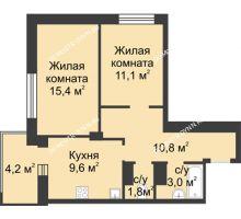 2 комнатная квартира 53,8 м² в ЖК Аквамарин, дом №2 - планировка