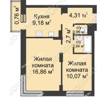 2 комнатная квартира 47,78 м² - ЖК Университетский