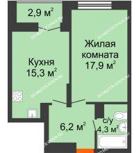 1 комнатная квартира 45,15 м² в ЖК Заречье, дом № 1 - планировка