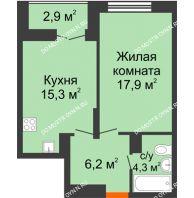 1 комнатная квартира 45,15 м² в ЖК Заречье, дом № 1, секция 1 - планировка