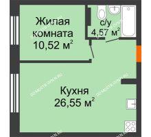 1 комнатная квартира 41,64 м², ЖК Шаляпин - планировка
